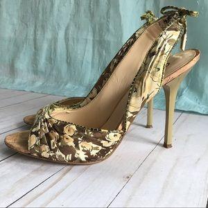 Vintage Guess Olive & Brown Floral Stiletto Heel